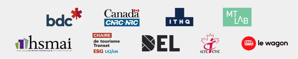 Partenaires Alpha Premium - BDC, CNRC NRC, DEL, MTLAB, Chaire de tourisme Transat, ESG, UQÀM, MTLHC, ICTC CTIC, le wagon